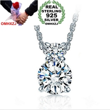 OMHXZJ Wholesale jewelry round woman gourd fashion kpop AAA Zircon 925 sterling silver NO Chain Necklace pendant Charms PE11
