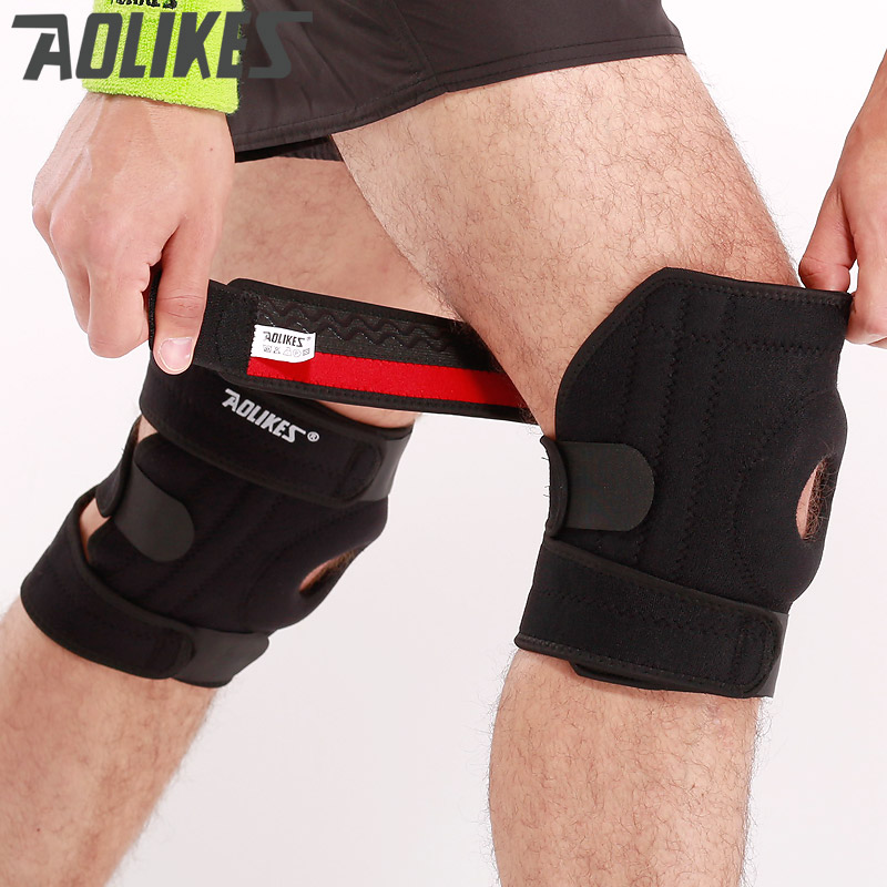 Aolikes Adjustable four Springs Support  Sports Leg Knee Support Brace Wrap Protector Sleeve Safety Knee Protector factory store