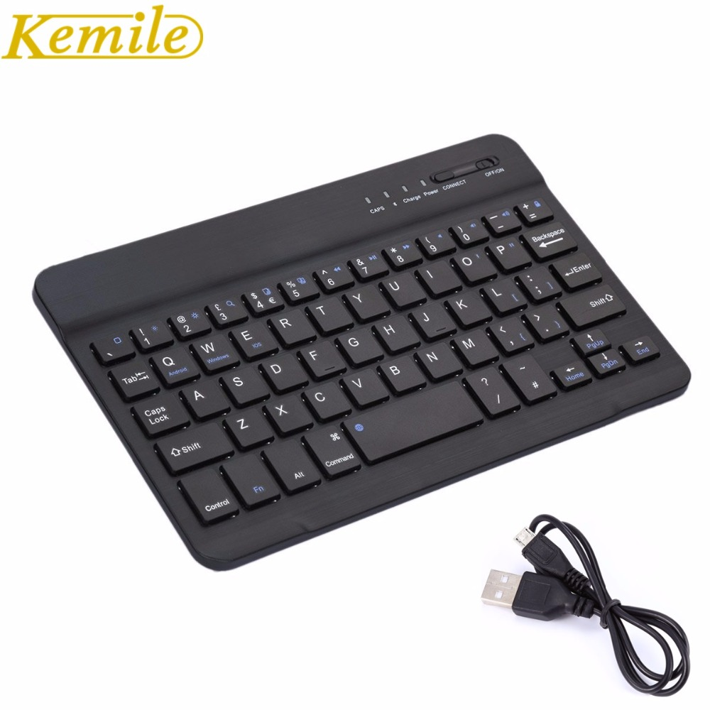 Teclado inalámbrico de aluminio Kemile Ultra Slim Bluetooth inalámbrico con puerto de carga micro para IOS Android Tablet Windows PC