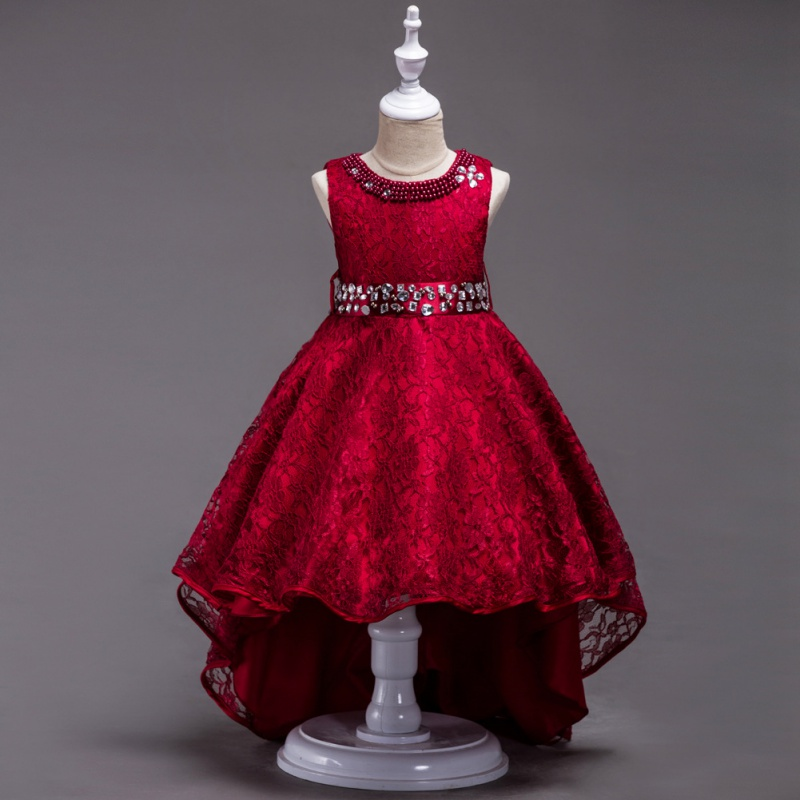 Red Flower Girl Trailing Bridal Gowns High Quality Girl Pearl Brilliant Tutu Dress Lace Long Princess Party Dresses 3-14Y