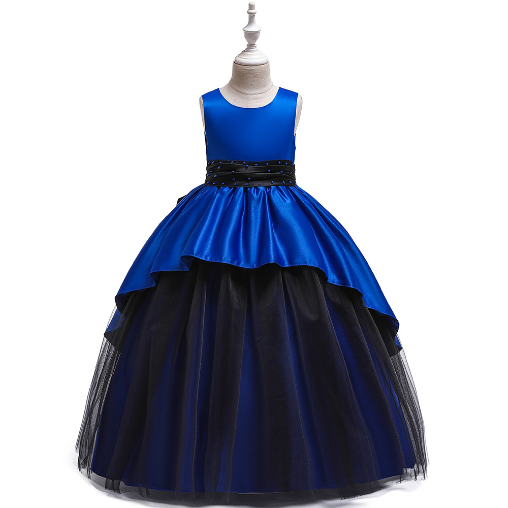 Simple Royal Blue Satin  Ballgown Kids Birthday Princess Party Dress  Elegant Dress For Girl Baby Evening Party