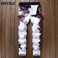 Fashion Man's Paint Jeans Slim Fit Straight Coloured Jeans Pants For Man Designer White Hip Hop Floral Printed Denim Trousers