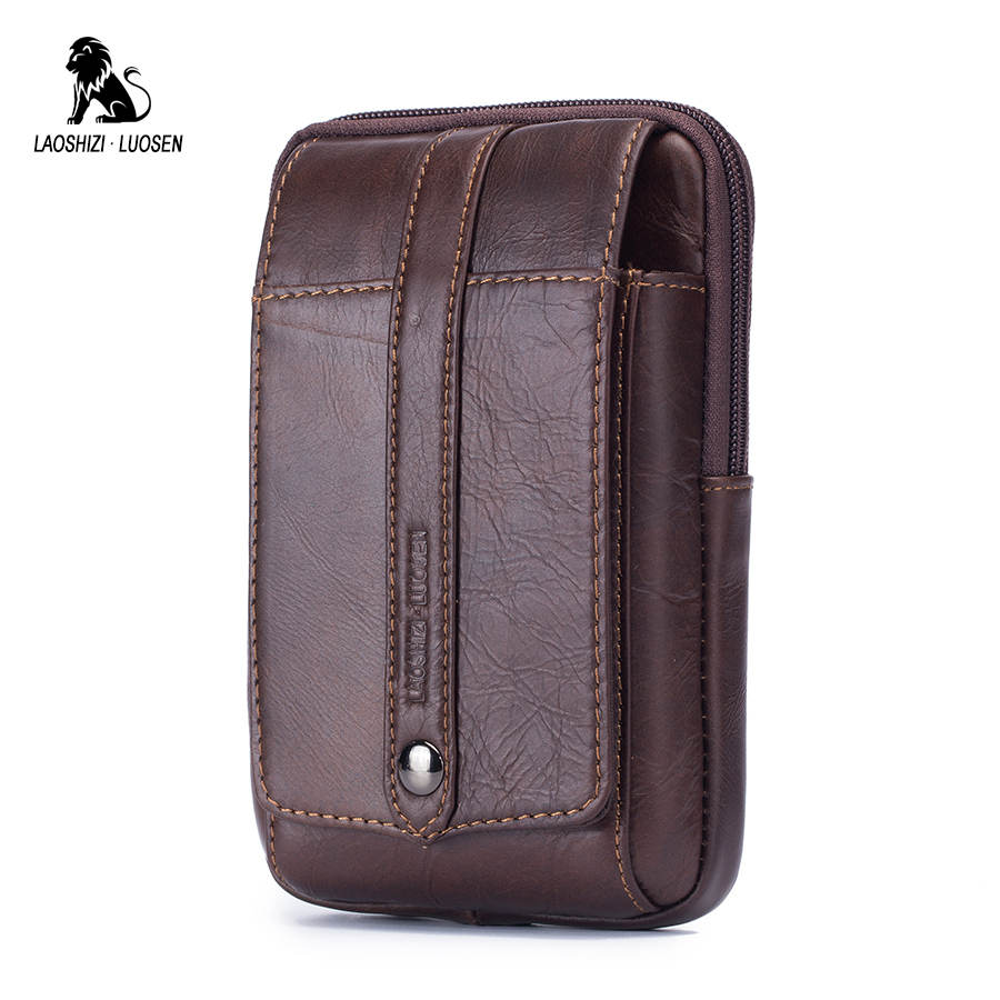 LAOSHIZI LUOSEN  Genuine Leather Men Fanny Waist Bag Cell/Mobile Phone Coin Purse Pocket Belt Bum Pouch Pack Travel Small Bag