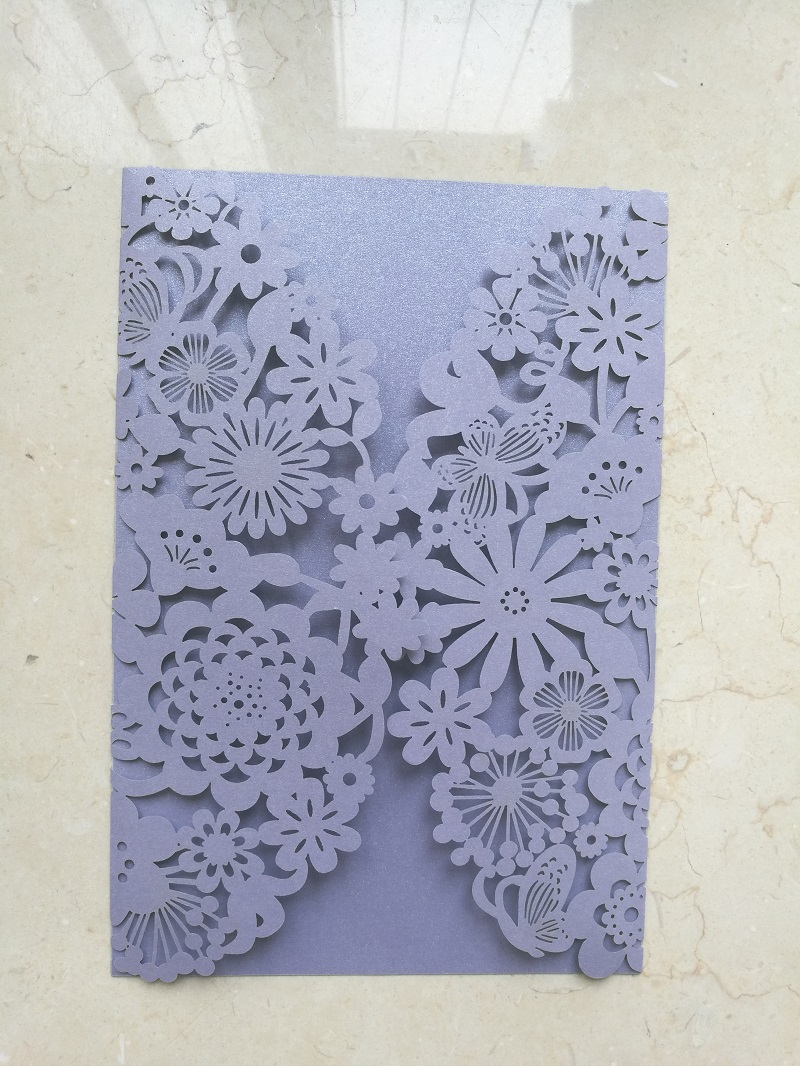 Promotion Discount Laser Cut Paper Lilac Wedding Invitation Cards(China)