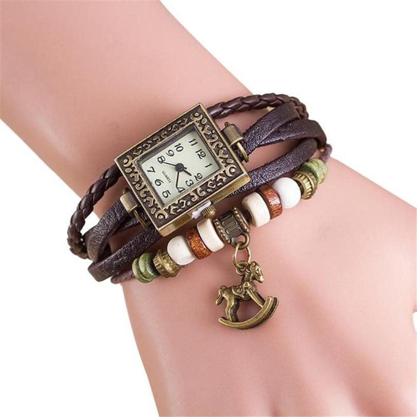 Relojes Mujer Retro Women s Bracelet Wristwatch Leather Weave Quartz Watch Women Trojans Pendant Watches Montre