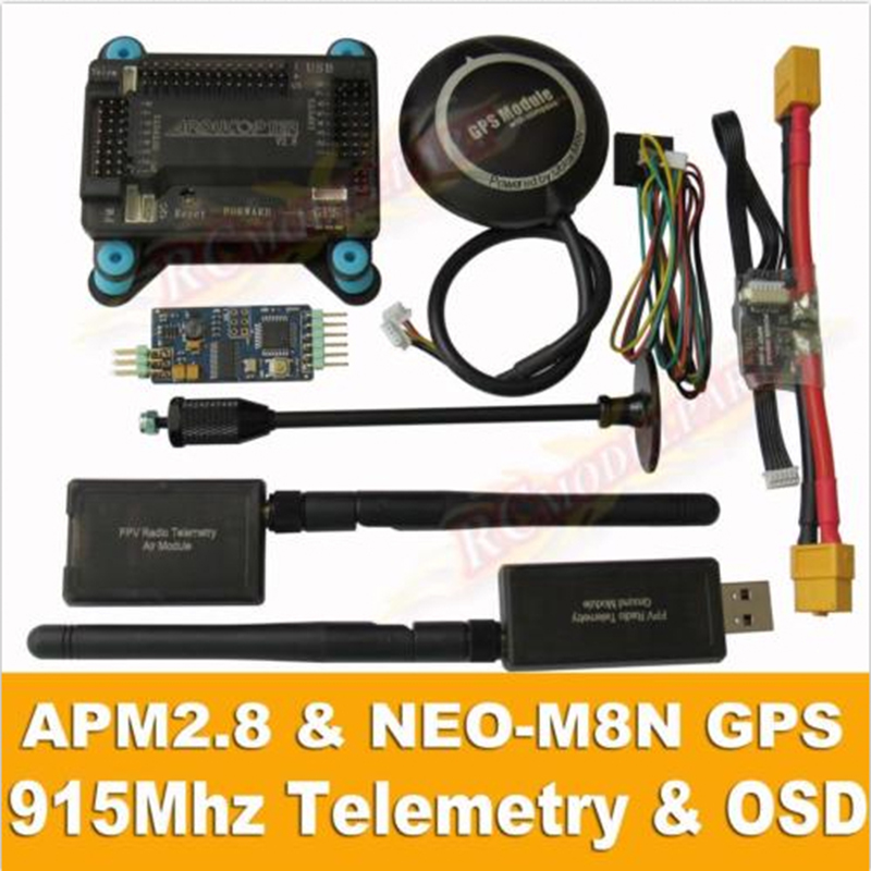APM2.8 Flight Controller + NEO-M8N GPS, 3DR 915Mhz 433Mhz Telemetry, OSD, Power Module drone upgraded apm2 6 mini apm pro flight controller neo 7n 7n gps power module