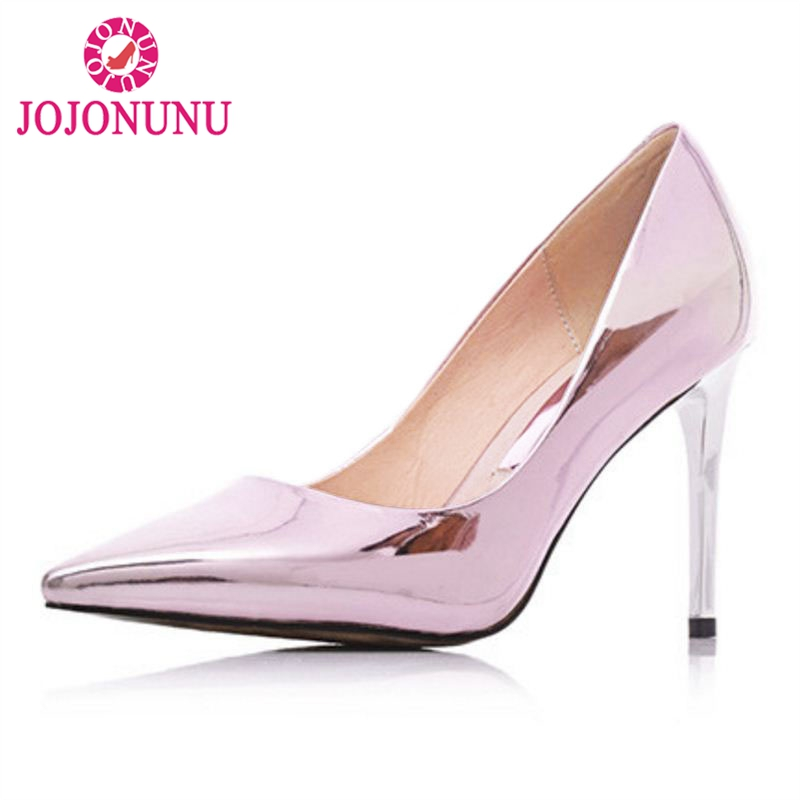 FITWEE Fashion Women Pointed Toe High Heel Shoes Women Metal Color Thin Heels Pumps Sexy Party