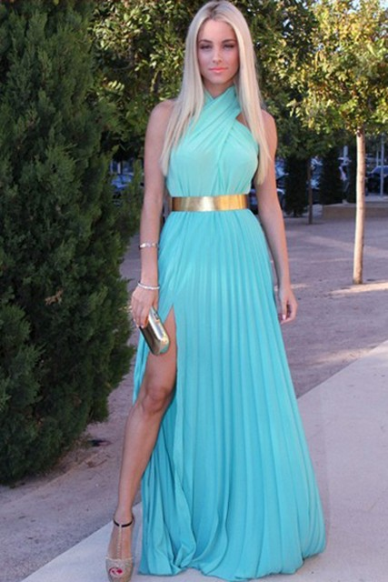 4916e7106 Oro asombroso Sash vestido de fiesta caliente venta Crossed Halter Neck  Side dividir sólido azul de