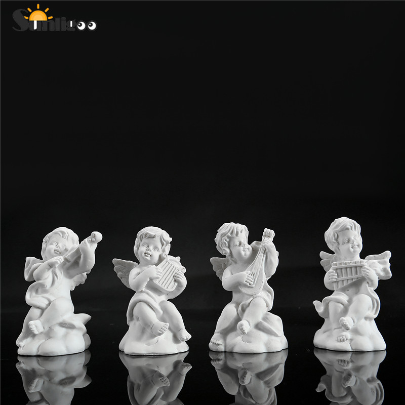 Sunligoo 4pc Mini Cute Angel Statue Small Cupid Figure Home&Garden Decor Music Fairy Model Sketch Practice Estatua Festival Gift