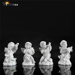 Sunligoo 4pc mini bonito anjo estátua pequeno cupido figura casa & jardim decoração música modelo de fadas esboço prática estatua festival presente