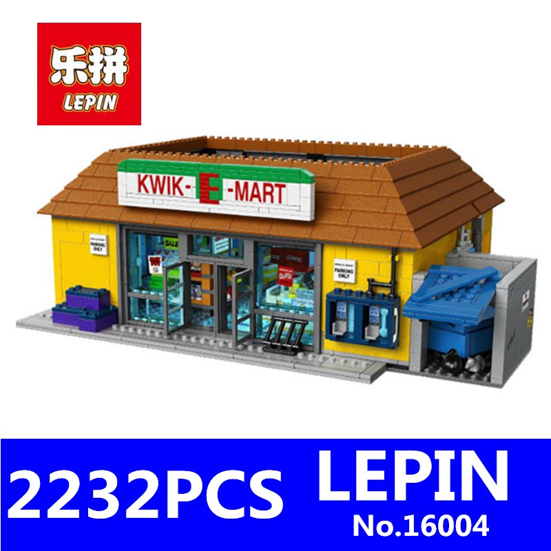 LEPIN 16004 2232Pcs Simpsons House KWIK-E-MART Model Educational Building Block Bricks Compatible 71016 Toys for Children Gifts