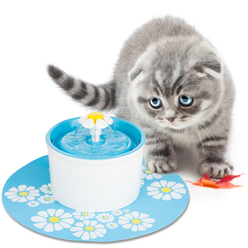 New Blue Adjustable Flower Style Automatic Electric 1.6 L Pet Water Fountain Dog/Cat Drinking Bowl With Silicone Pad care of you f24447
