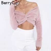 BerryGo Sexy off shoulder short pullovers Long sleeve party cross knitted crop top Women sweater autumn winter jumpers camis
