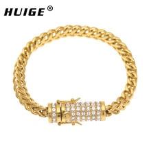 Check Discount Stainless Steel Keel Bracelet Gold Silver Men Link Cuban Bracelet Iced Out Rhinestone Franco Chain Bracelet Punk Style Box Clasp