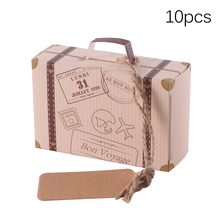 10 unids/lote caja de papel de viaje Vintage Mini maleta caja de dulces bolsas para regalo de boda regalos decoración evento Fiesta suministros