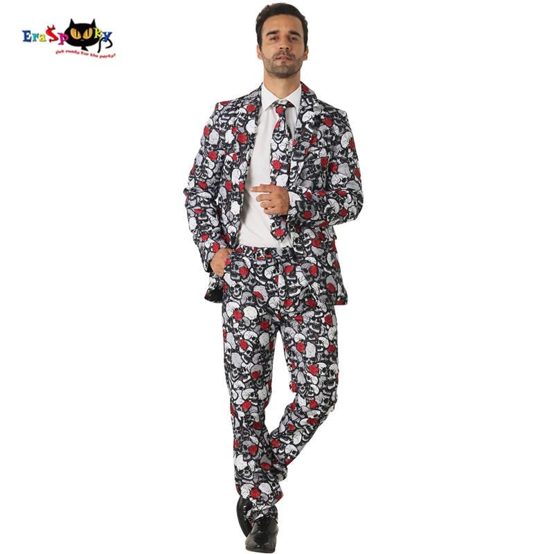 CRAZE 2018 Scary Dead Skull Cosplay Men Floral Rose Suits