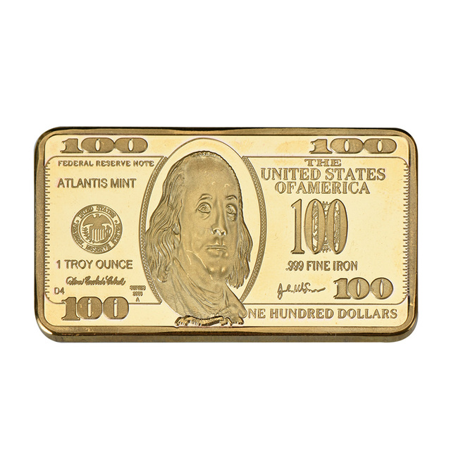 Wr Us 100 Dollar Gold Banknote Fake Bar 999 9 Gold Plated