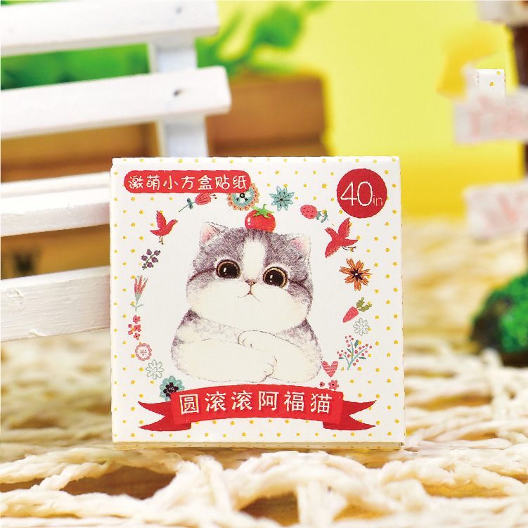 40 PCS New Cute Fat Cat 40 Sheets Mini Paper Sticker Decoration DIY Ablum Diary Scrapboo ...