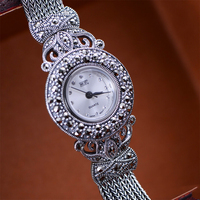 MetJakt ограниченное издание чистый ручной работы Винтаж циркон браслет часы Твердые стерлингового серебра 925 браслет для женщин ювелирные из