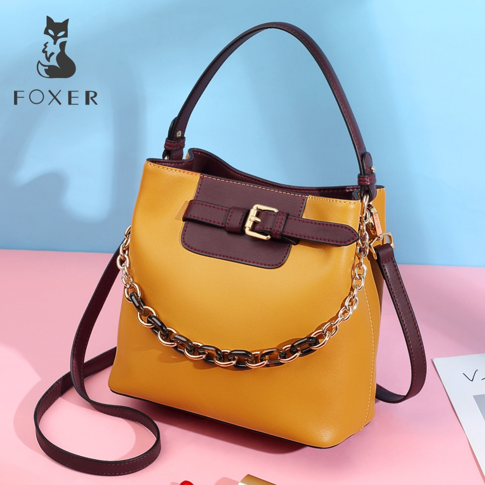 FOXER Brand Female New Design Bucket Bags Leather Large Capacity Handbags Women Fashion Messenger Bags Lady Valentines Day GiftFOXER Brand Female New Design Bucket Bags Leather Large Capacity Handbags Women Fashion Messenger Bags Lady Valentines Day Gift
