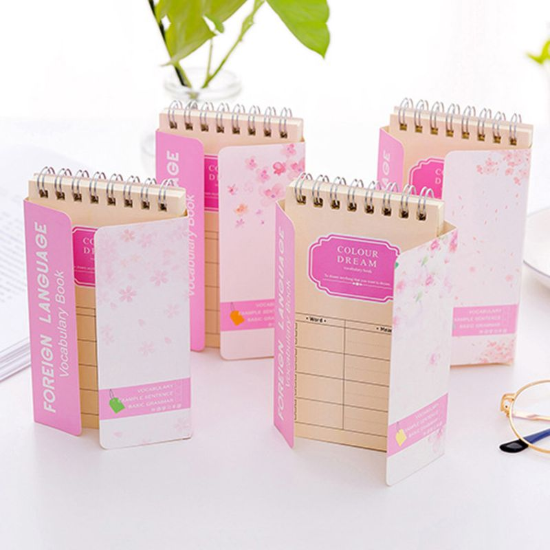 Cherry Blossoms English Word Coil Book Vocabulary Notebook Diary Notepad Hand Memo Book Stationery
