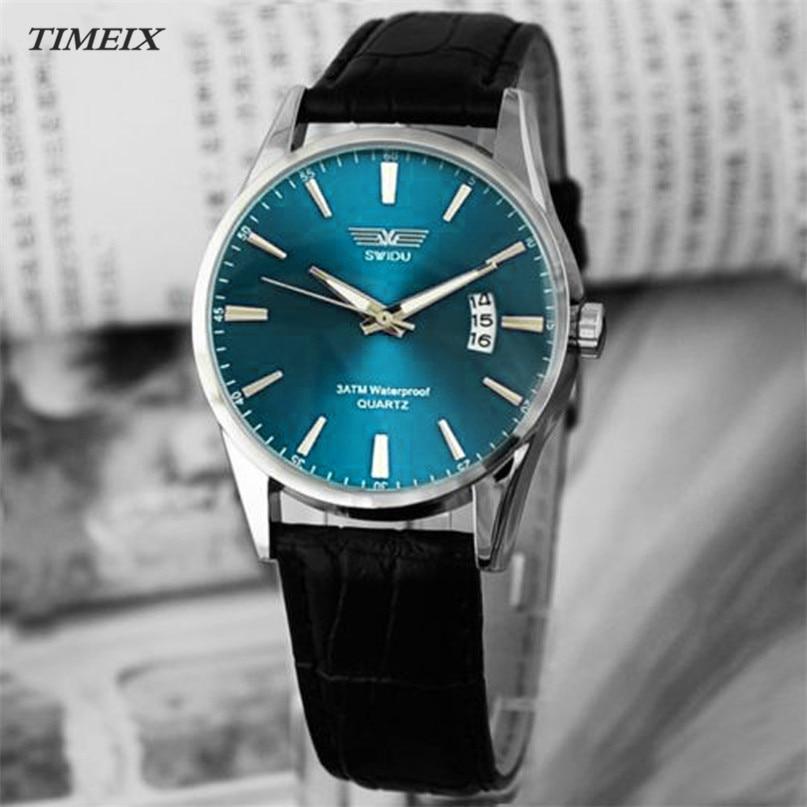 Classic Fashion Men s Watches Luxury Black Leather Strap Calendar Quartz Mens Date Wrist Watch Male