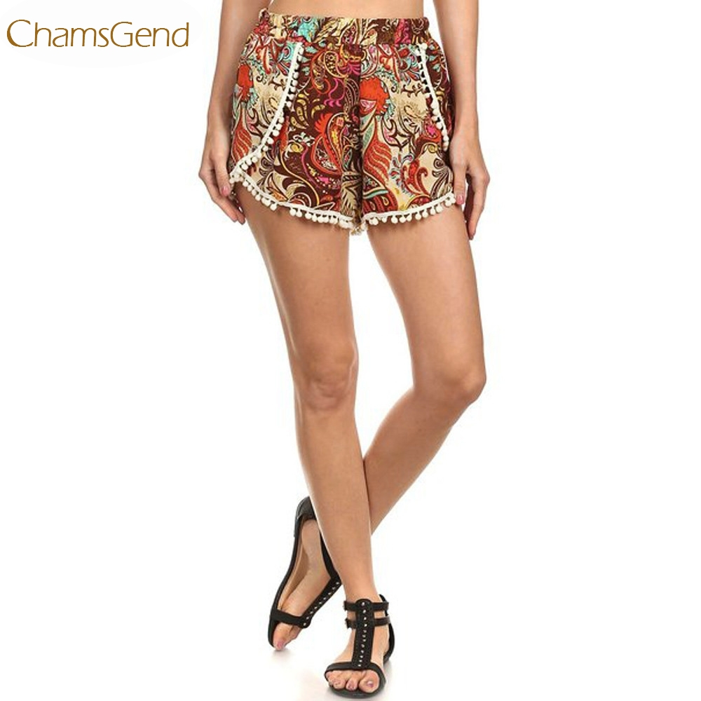 Newly Design Women Fashion Boho Style Printed   Short   Elastic High Waist Tassels   Shorts   160629 Drop Shipping