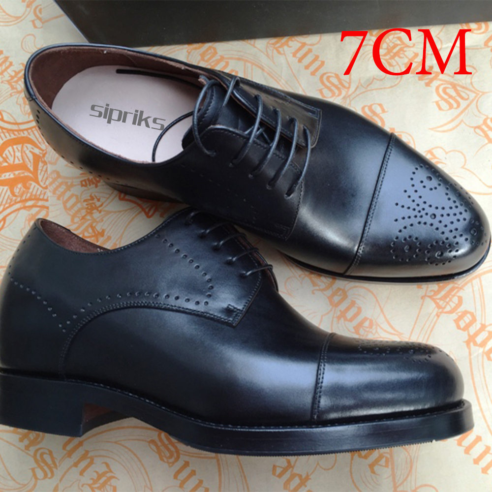 2017 Luxury Shops Custom 7 Cm Men Elevator Shoes Mens Goodyear Welted Shoes Boss Oxfords Shoes Italian Mens Dress Shoes European 2016 luxury mens goodyear welted oxfords shoes vintage boss brogue shoes italian mens dress shoes elegant mens gents shoes derby