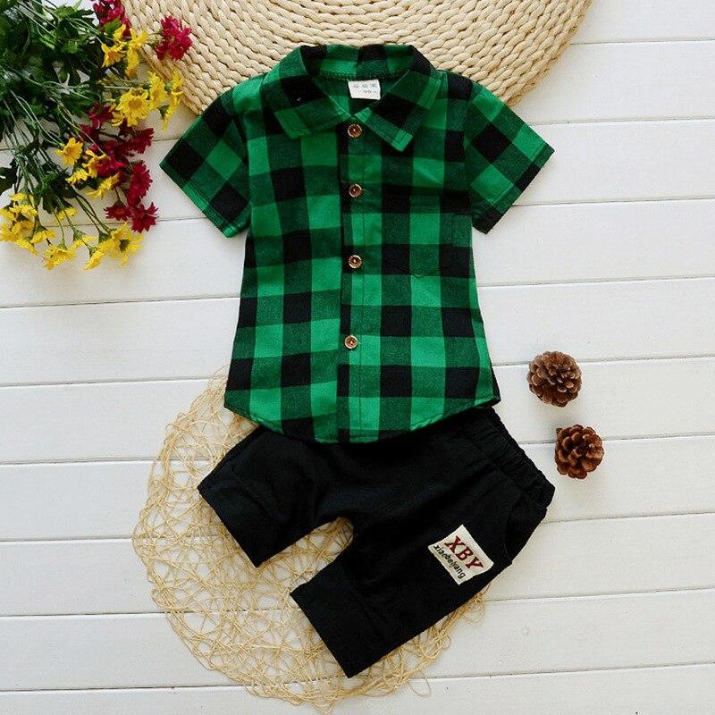 1 - 3 Years Boys Cotton Short Sleeve Plaid Shirt Set Summer Comfort New Boy Korean Casual Two-piece Set