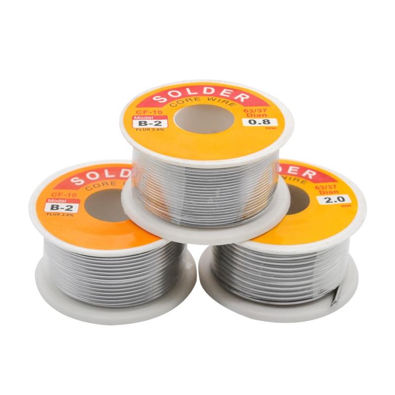 Nieuwe 100G 0.6/0.8/1/1.2 63/37 Flux 2.0% 45FT Tin Tin Lead Wire Melt Rosin Core Soldeer Soldeer Wire Roll No-Clean 3