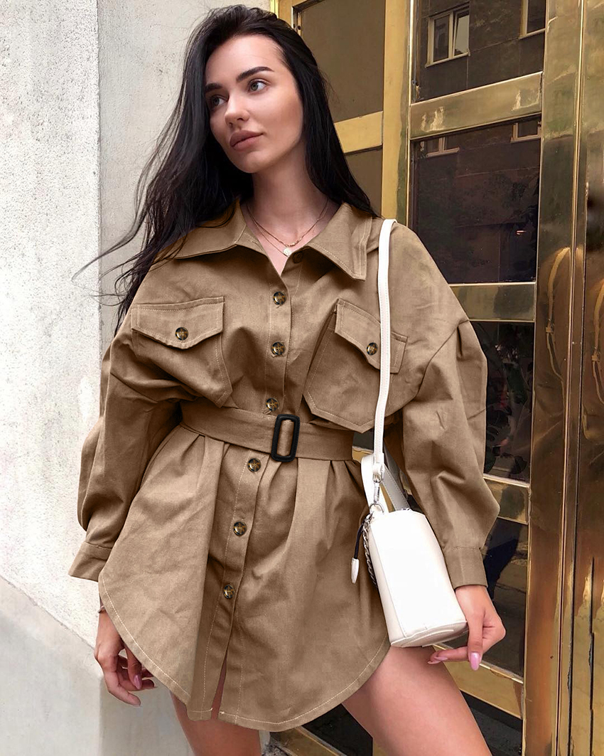 OOTN Long Batwing Sleeve Mini Dress Women Office Lady Shirt Dresses Sashes Vintage Tunic Dress Khaki 2019 New Outerwear Casual (4)