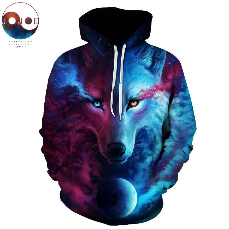 Where Light And Dark Meet by JoJoesart Wolf 3D Hoodies Sweatshirts Men Women Hoodie Casual Tracksuits Fashion Brand Hoodie Coats