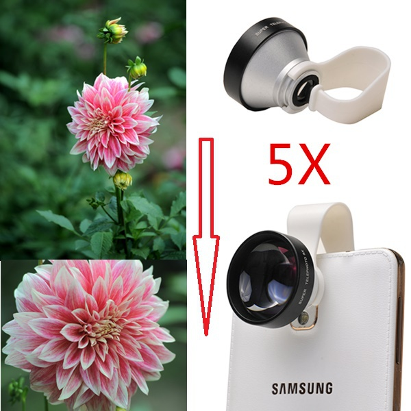 High Quality 5X Telephoto Telescope Lens With Clips Mobile Phone Camera Lenses For iphone 4 4s 5 5s 5c SE 6 6s 7 Plus cell phone