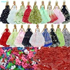 Random 15 Items = 5x Wedding Dress + 5x Red Hangers + 5x Shoes Princess Party Clothes For Barbie Doll Pretend Play Accessories