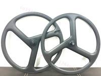 700C Tri Spoke Carbon Fiber Wheelset Road Bike Track Bike Carbon Wheels 3 Psoke ZIP