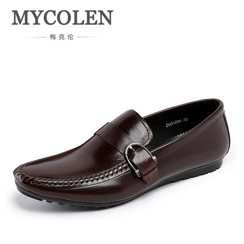 MYCOLEN Luxury Men Shoes Black Leather Men 'S Casual Shoes Brand Comfortable Spring Fashion Breathable Men Loafers Sapatenis 48 led auto car dome festoon interior bulb roof light lamp with t10 ba9s festoon adapter base reading light high quality