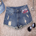 New Design 2017 Summer Fashion British Flag Pattern Denim Shorts Women Brand Plus Size Wash Hole Cotton Casual Short Jeans
