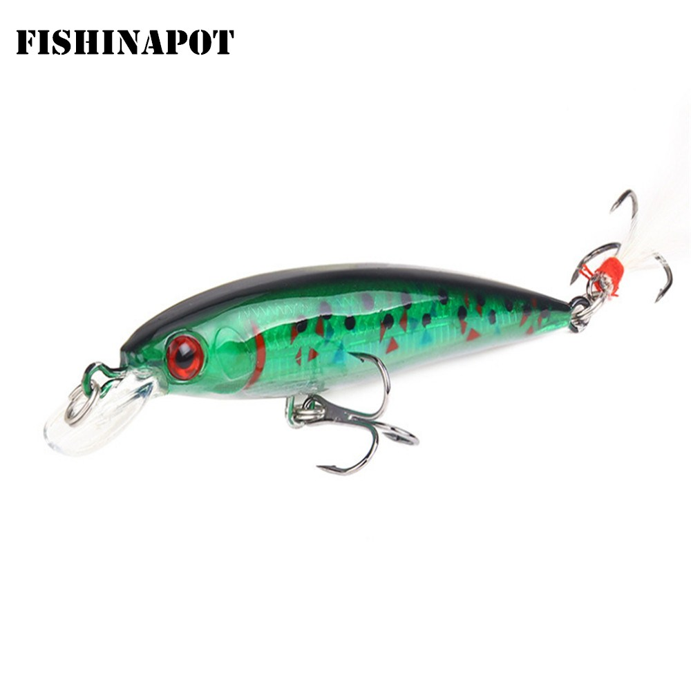 1PCS Minnow Fishing Lure 9cm 7g Isca Artificial Hard Crankbait Wobbler Baits With Feather Artificial Pike Carp Fishing Tools