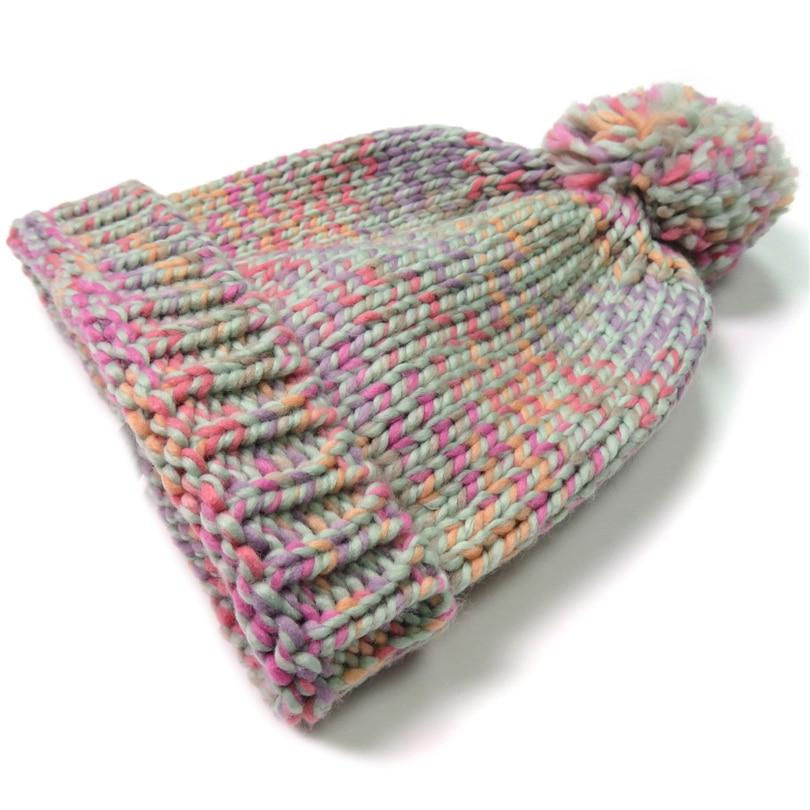 Pleteni zimski klobuk za ženske Pompom Ball Cute Baby Beauns Island - Oblačilni dodatki - Fotografija 3