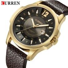 Marca de Luxo CURREN Homens Relógios Esportivos Casuais Dos Homens de Couro À Prova D' Água Relógio de Quartzo Homem de Negócios Data Relógio de Pulso Relogio masculino
