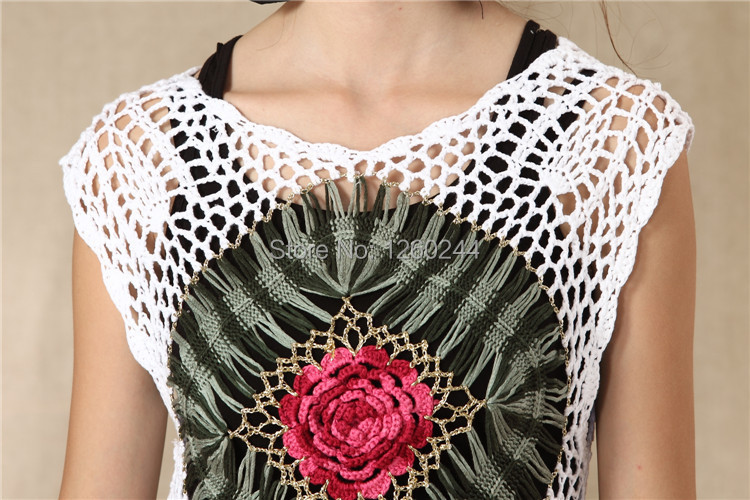 Handmade Crochet Sweaters Women Ethnic Hollow Out Roses Flowers Novelty  Irregular Pullover Sweater shirt blusas de