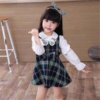 2017 en najaar nieuwe editie van Koreaanse editie hot stijl kinderen tartan Jurk katoen mooie prinses lange mouwen jurk