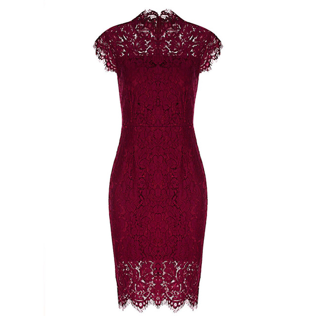 eaf6ca1dae Vintage Burgundy Summer Lace Dress Sheath Bodycon Party Dress Midi Length  Slim Black Vestido 2018 Elegant