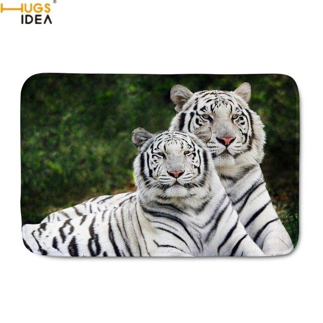 Hugsidea Home Decor Door Carpets Cool Animal Tiger Bengal White Pattern Doormats Living Room