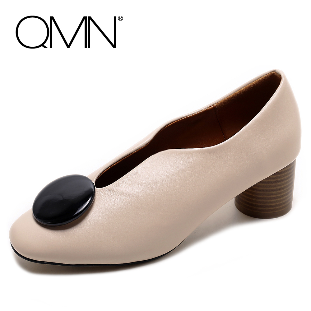 ФОТО QMN women genuine leather pumps Women Retro Style Cylinder Heel Slip On Shoes Woman Cow Leather Heels With Big Button