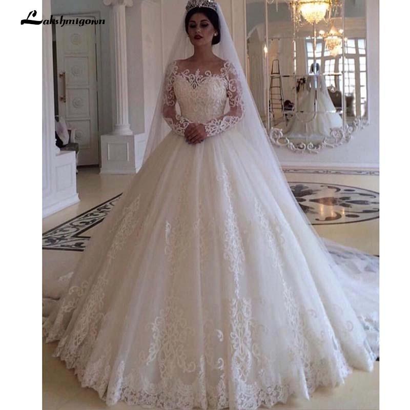 Glamorous Bateau Long Sleeves Wedding Dress Lace Princess Bridal Gowns Vestidos de Nova Robe de mariee