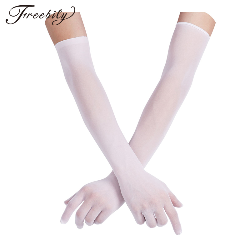 Bekleidung Zubehör Sexy Frauen Sheer Nahtlose Lange Feste Handschuhe Erschwinglichen Luxus Glatte Arm Wärmer Handschuhe