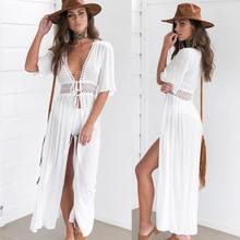Zkcenier 2019 Кружевное белое пляжное платье туника длинное Парео Бикини, верхняя одежда плавающий плащ пляжная одежда