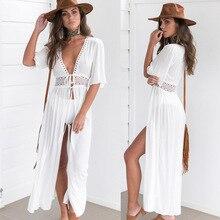Zkcenier 2019 Lace White Beach Cover Up Dress Tunic Long Pareos Bikinis Cover Ups Swim Cover Up Robe Plage Beachwear