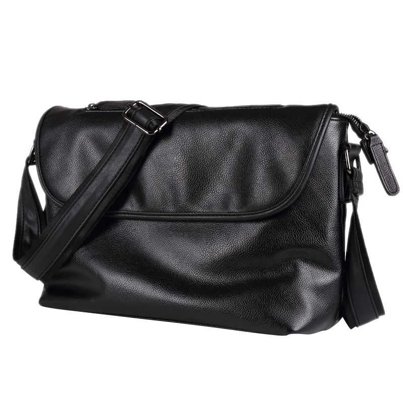 Mens Messenger Bags Solid PU Leather Casual/Business Flap Cover Bags Hasp Zipper Briefcase Crossbody Male Shoulder Bag Sac